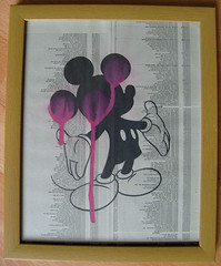 MIK.E PINK DRIP (i hate snuggles) Tags: street pink urban blackandwhite white streetart black art fashion painting paper mouse graffiti stencil artist forsale purple framedart banksy images canvas popart frame spraypaint mickymouse snuggles graffitiart contemporyart britishartist ihatesnuggles