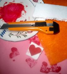 how to heart stamp (betty crafty) Tags: diy craft felt stamp valentinescard styrophoam