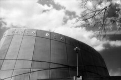 Planetarium (Jamie Powell Sheppard) Tags: blackandwhite bw art film architecture campus ir photo kentucky fineart grain planetarium louisville canonae1program rauch uofl 50mmlens 35mmslr universityoflouisville femalephotographer hc110dilb woodeffect 29darkredfilter kodakhiebwinfrared