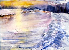 Snow Drifts at Sunset (Artist Naturalist-Mike Sherman) Tags: sunset snow field watercolor painting landscape michigan farm shed farmland pines drift pleinair midmichigan isabellacounty kunstplatzlinternational