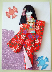 ATC258 - A doll is a girl's best friend (tengds) Tags: pink flowers red birds atc collage doll stickers kimono cutouts papercraft japanesepaper washi ningyo japaneseprint handmadedoll handmadecard chiyogami yuzenwashi japanesepaperdoll nailsticker washidoll origamidoll tengds origamiwashi