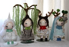paper mache dolls...well heads (the poppy tree) Tags: sculpture tree cute art wool nature girl animal felted vintage stand doll dolls dress lace felt plush willow unicorn magnet porcelain weeping whimsical papermache waterfalldeer