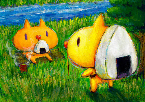 一枚絵_14_おにぎりリュックを背負ったむーと、おにぎりを食べるむー