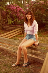 On the fence (just call me Mr Lucky) Tags: fence scans azaleas lavender flipflops prints 1977 joann cutoffs frenchtradingpost