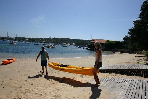 Getting ready for a great day out with kayaks in the bays of Sydney.