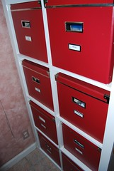 storage boxes from IKEA (KASSETT in red)