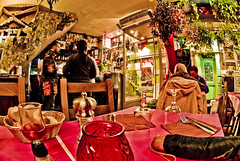 Alone in a French Cafe (MDSimages.com) Tags: world city travel red urban plants paris france green shop digital french bread table photography glasses design blog cafe media colorful europe european alone state bright union capital july vivid eu fisheye processing iledefrance metropolitan hdr westerneurope 2007 shoppe aesthetic rpubliquefranaise frenchrepublic nikond200 rgionparisienne republiquefrancaise michaelsteighner mdsimages hyliteproductions photomike07 mdsimagescom hylitecom