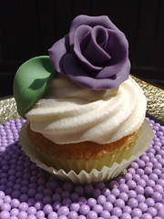 Rose Cupcake (SmallThingsIced) Tags: rose leaf purple cupcake vanilla rosewater buttercream cachous