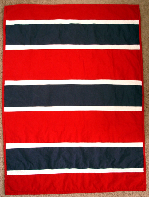 back of baby quilt - inspired by Denyse Scmidt's Rugby Stripes