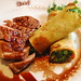 Duck with cornmeal crepes filled with broccoli rabe and dried cherries