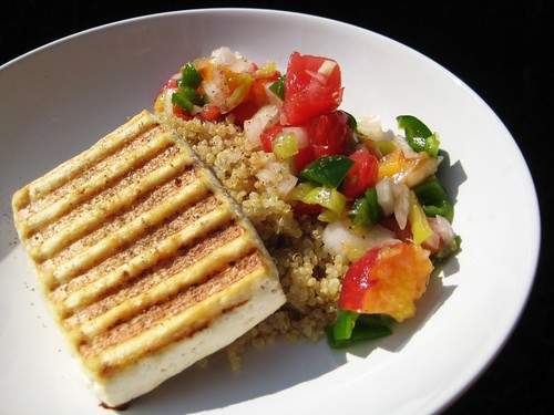 grilled tofu with quinoa and peach salsa