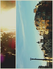 c a p i t a l (mari-ann curtis) Tags: old england sun colour london wheel buildings square glare gates trafalgar millenium queen