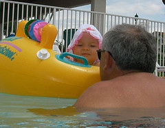 Eva & Grandpa Dan-o in the pool