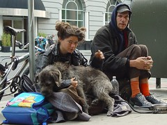 Homeless Couple with Dog in San Francisco