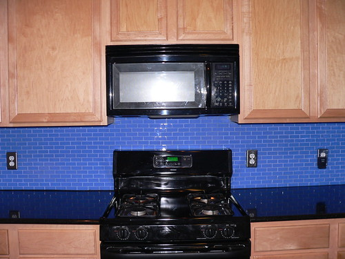Modern Look Kitchen Design Blue Subway Tile Backsplash