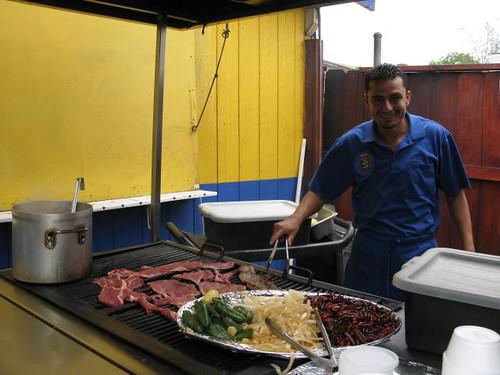 Grilling at Tacos el Paisa