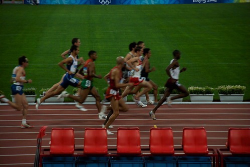 In the afternoon and evening, we watched Track & Field events in the Birds Nest. Here, a Kenyan leads in the Mens 1500 Meter heat.