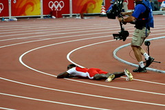 Beijing Olympics: Men's 100 Meters Final, Richard Thompson (rich115) Tags: china beijing running final olympics beijing2008 sprint thompson 100m olympics2008 beijingolympics 100meters licensechangedforioc