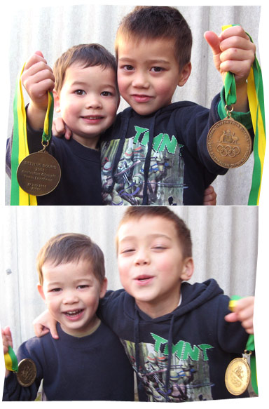 Callum and Sean with Medals