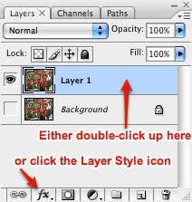 2 ways to open the Layer Style dialog box in the Layers Palette