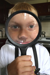 Magnified Eyes (Alana Elliott) Tags: damien magnifyingglass blockparty nonprofit hostedbyakidatheart