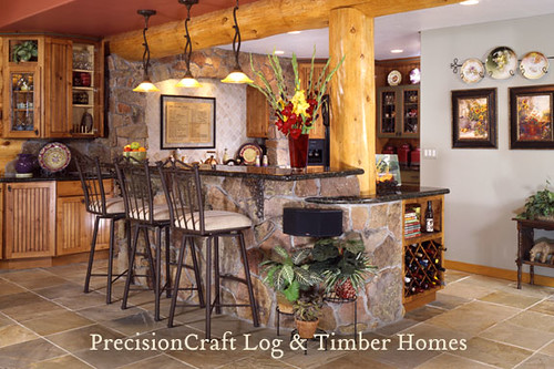 Kitchen View | Custom Milled Log Home | Colorado Log Homes,house, interior, interior design