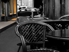 urban fragment... (roger_popa) Tags: street chair chairs covered bucharest cafebar desaturate selectivecolour urbanfragment