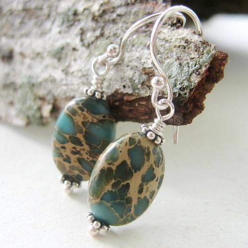 Pine Forest Earrings - Hemi Jasper and Sterling Silver Earrings