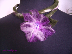 purple felt flower necklace (6) (creationsbyeve) Tags: flower green necklace beads europe purple felting handmade felt greece