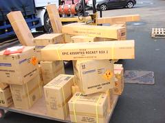 EpicFireworks -a pallet full of fireworks (EpicFireworks) Tags: cake firework showroom carton boxes cartons epic barrage