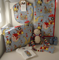 Petting Zoo Baby Gift Set (london mummy) Tags: blue baby animals monkey quilt sewing tiger bib crochet tortoise lion pillow camel fabric gift kangaroo giraffe pettingzoo applique cushion booties burp onesie alexanderhenry anneclairepetit londonmummy babygiftset