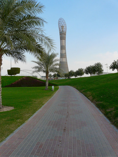 A path leading up to Aspire Tower.