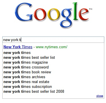 New York Times On Search Suggest