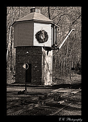 The Water Tower (TrackRunner09) Tags: railroad trees winter blackandwhite history wall forest train photoshop newjersey rocks crossing branches watertower tracks sunny daytime reef hdr allairestatepark trackrunner09 trackrunnersphotography