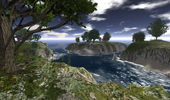 > A U R O N < (Zyntia Poitier *not there*) Tags: trees sky terrain water grass clouds landscape coast waves landscaping cliffs sl secondlife land nordic openspace sim poitier terraforming zyntia
