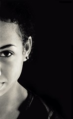 A Peek in the Dark (Kwadwo Kwarte) Tags: family portrait bw woman white black girl look lady dark looking malcolm sister african young earring