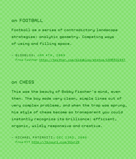on Football and Chess