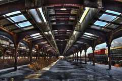 Historic Train Terminal - HDR (marv117) Tags: old railroad snow ice station train vanishingpoint rust steel terminal historic 1740mm hdr libertystatepark jerseycitynj canon40d marv117