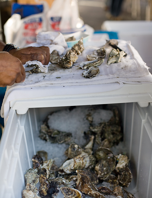 Carlsbad Aquafarm Rob Shucking Oysters