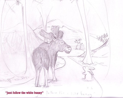 Follow the white bunny (more forest sketches)