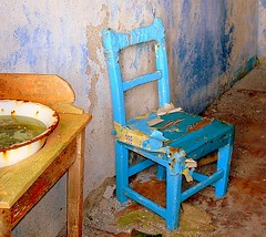 blue chair and basin (hmb52) Tags: blue ireland abandoned chair ruraldecay washbasin comayo passionphotography