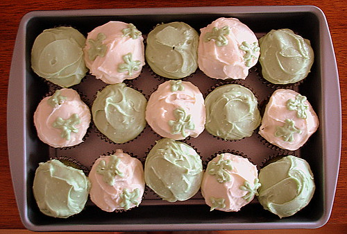 St. Patrick's Day cupcake - green velvet cake and green cream cheese frosting