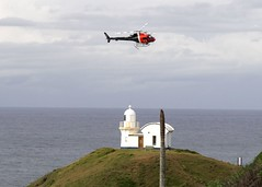 Helicopter over lighthouse (GreenGymPMQ) Tags: spraying portmacquarie bitou npws tackingpoint greengym hastingscouncil