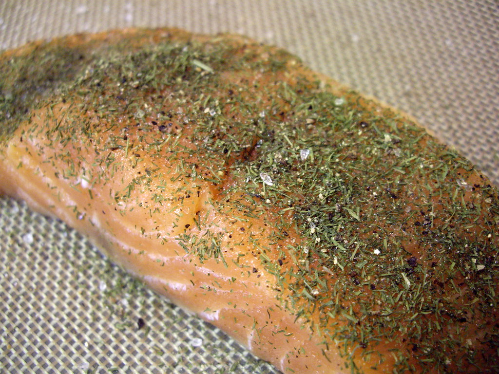 salmon ready to be broiled