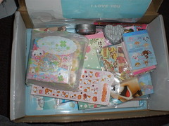 Looking in the Box! (tazi_bears) Tags: shopping kawaii stationery swaps penpals memopads lettersets swappers janetstore envelopesgiftbagsstickersstickersacks