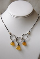 Chalcedony Necklace (landscape jewel) Tags: silver necklace pearls sterling oxidized chalcedony handcraftedjewelry wirewrappedsterling