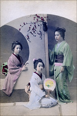 Three Japanese Women (ookami_dou) Tags: japan vintage fan geisha kimono obi handcolored handtinted moonwindow