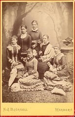 Portrait of six women 1882 by N J Bjrsell in Varberg, Sweden (kvw500) Tags: portrait varberg cabinetcard halland 1882 portrtt v103 njbjrsell