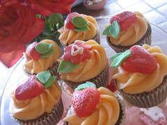 Sophia's Strawberry Shortcake Cupcakes (cupcakesnouveau) Tags: birthday party glass dessert cupcakes bridalshower florida miami events gourmet cupcake custom couture babyshower favors stands coralgables catering specialevents partyfavors deliciouscupcakes customdesigned couturecupcakes gourmetcupcakes cupcakesnouveau cupcakesmiami customdesignedcupcakes birthdaysorganize