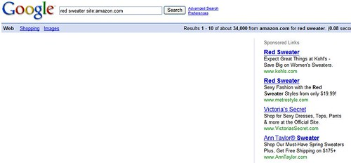 amazon secondary search on google